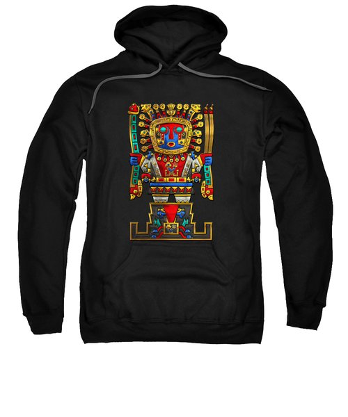 Incan Gods - The Great Creator Viracocha On Black Canvas Sweatshirt