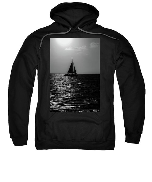 Sailing Into The Sunset Black And White Sweatshirt