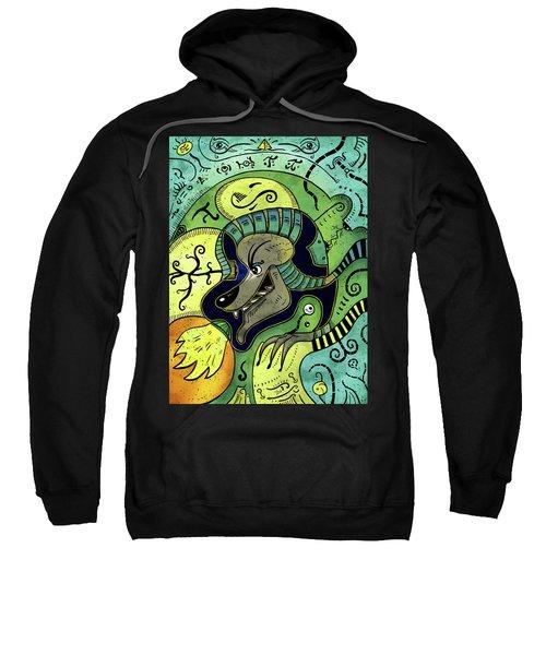 Sweatshirt featuring the digital art Anubis by Sotuland Art