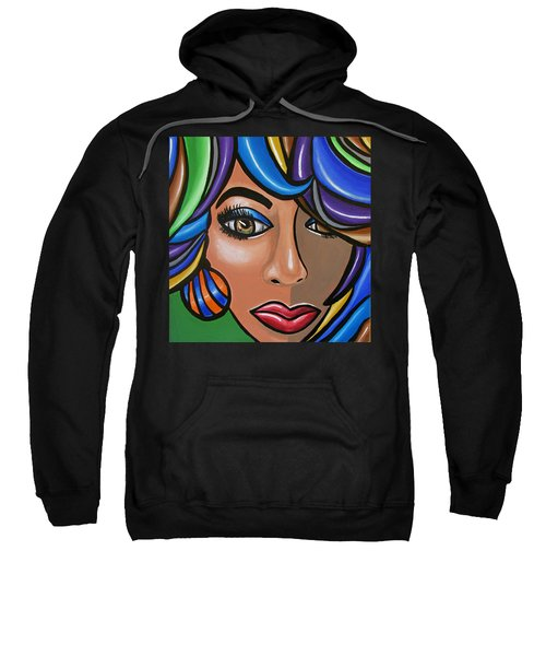 Abstract Woman Artwork Abstract Female Painting Colorful Hair Salon Art - Ai P. Nilson Sweatshirt
