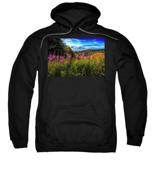 Art Photo Of Vermont Rolling Hills With Pink Flowers In The Fore Sweatshirt