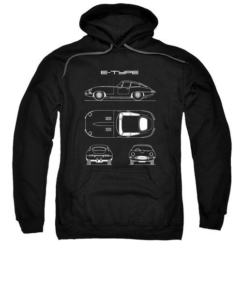 Jaguar E Type Blueprint - Black Sweatshirt