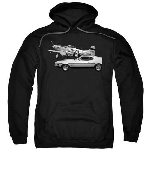 Mach 1 Mustang With P51 In Black And White Sweatshirt