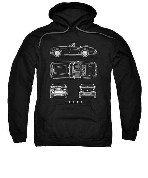 Austin-healey 3000 Blueprint Black Sweatshirt