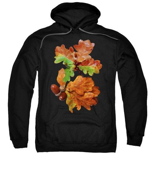 Autumn Oak Leaves And Acorns On Black Sweatshirt