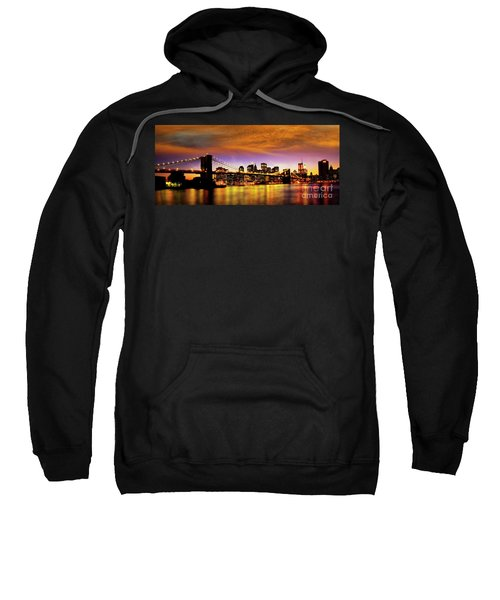 Sweatshirt featuring the photograph Bridging The East River by Scott Kemper