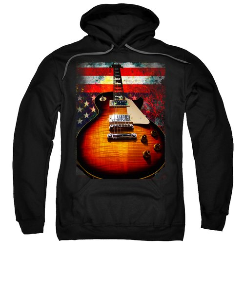 Burst Guitar American Flag Background Sweatshirt