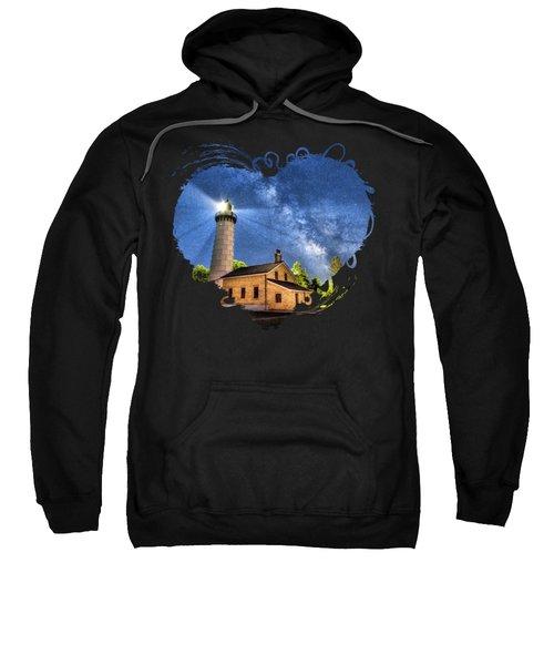 Cana Island Lighthouse Milky Way In Door County Wisconsin Sweatshirt