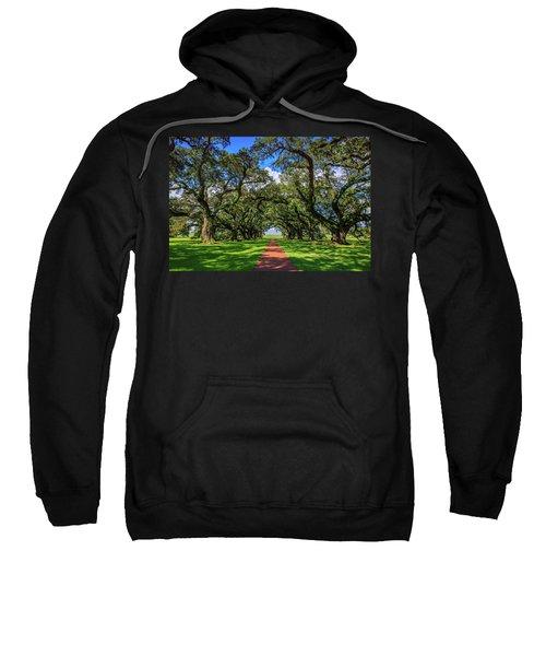 Canopy Of Southern Live Oak Trees, Oak Alley Plantation Sweatshirt