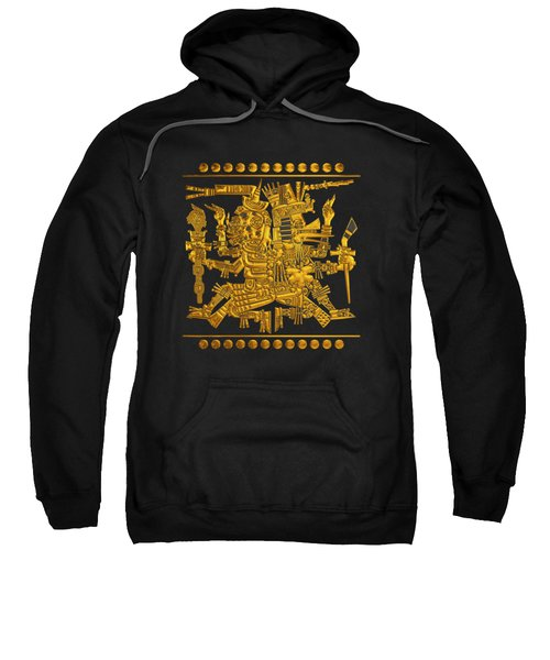 Codex Borgia - Aztec Gods - Gold Mictlantecuhtli With Quetzalcoatl On Black And White Leather Sweatshirt