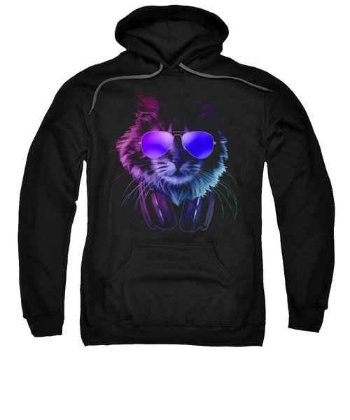 Cool Dj Furry Cat In Neon Lights Sweatshirt