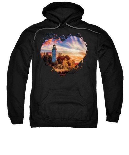 Door County Cana Island Lighthouse Sunrise Panorama Sweatshirt