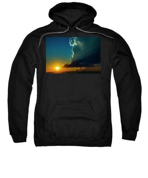 Dying Nebraska Thunderstorms At Sunset 068 Sweatshirt