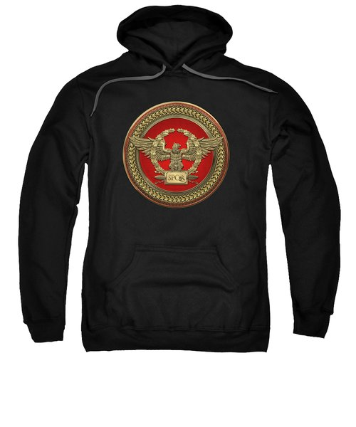 Gold Roman Imperial Eagle -  S P Q R  Medallion Edition Over Black Leather Sweatshirt