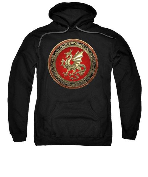 Gold Winged Norse Dragon - Icelandic Viking Landvaettir On Red And Gold Medallion Over Black Leather Sweatshirt