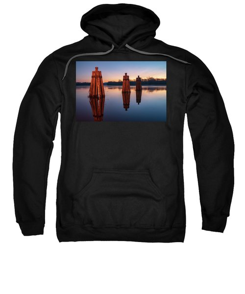 Group Of Three Docking Piles On Connecticut River Sweatshirt