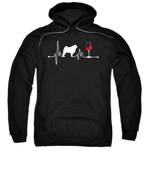 Heartbeat Ekg Pulse Pug And Wine Lover Sweatshirt