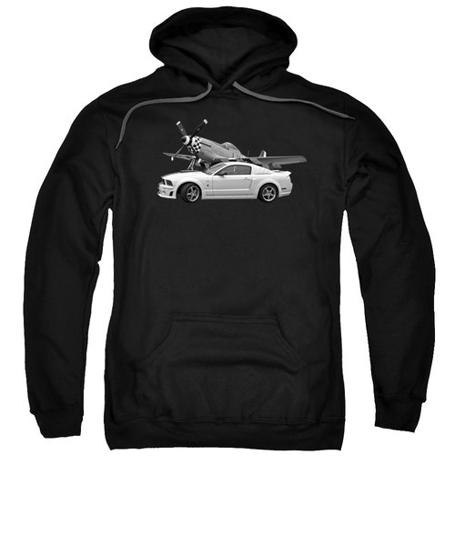High Flyers - Mustang And P51 In Black And White Sweatshirt