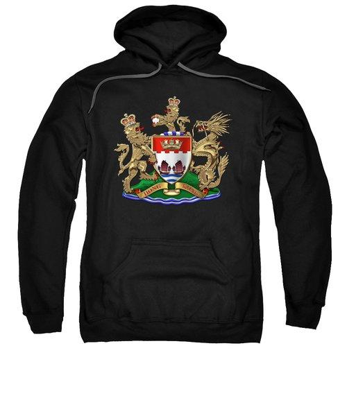 Hong Kong - 1959-1997 Coat Of Arms Over Black Leather  Sweatshirt