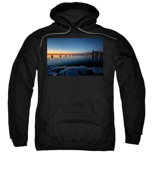 Icy Chicago Skyline At Dawn  Sweatshirt