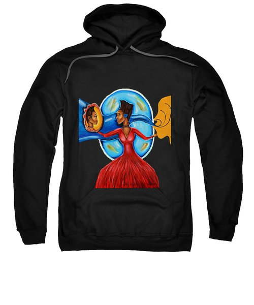 African Goddess Lady In Red Afrocentric Art Mother Earth Black Woman Art Sweatshirt