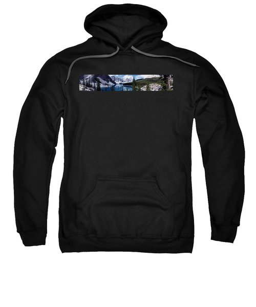 Lake With Snow Covered Mountains In The Background, Moraine Lake, Banff National Park, Alberta, Cana Sweatshirt
