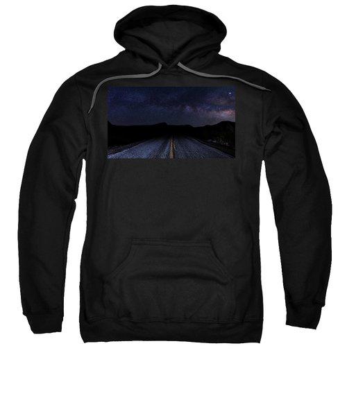 lonely Desert Road on a Starry Desert Night  Sweatshirt
