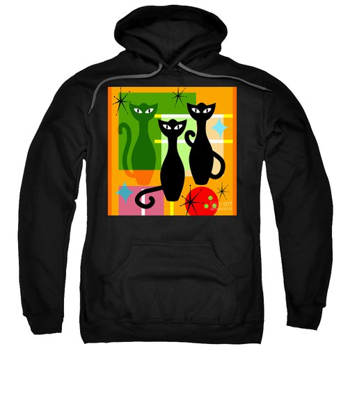 Mid Century Modern Abstract Mcm Bowling Alley Cats 20190113 Square Sweatshirt