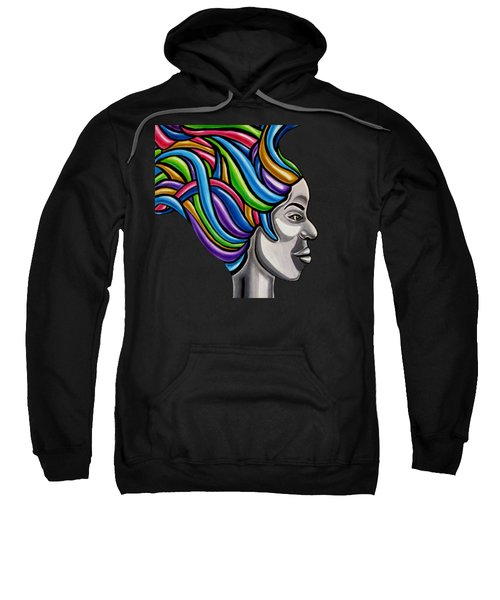 Colorful Abstract Black Woman Face Hair Painting Artwork - African Goddess Sweatshirt
