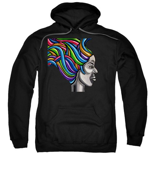 Colorful 3d Abstract Painting, Black Woman, Colorful Hair Art Artwork - African Goddess Sweatshirt