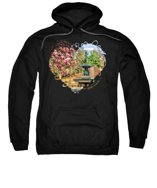 New York City Central Park Bethesda Fountain Blossoms Sweatshirt