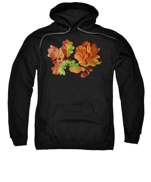 Oak Leaves And Acorns On Black Sweatshirt