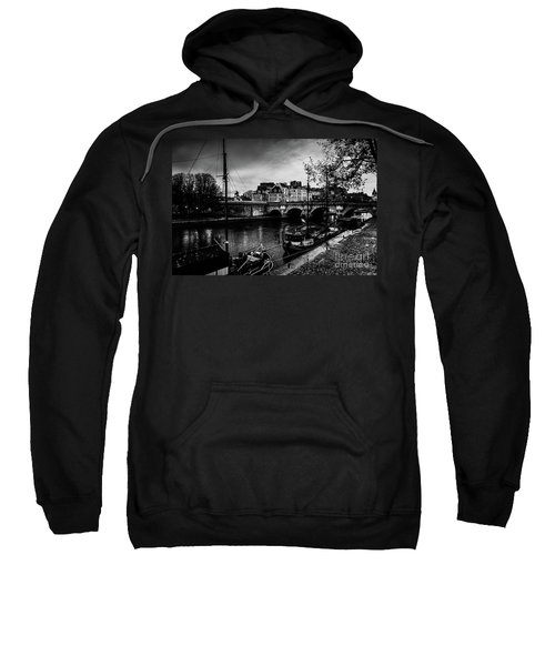 Paris At Night - Seine River Towards Pont Neuf Sweatshirt