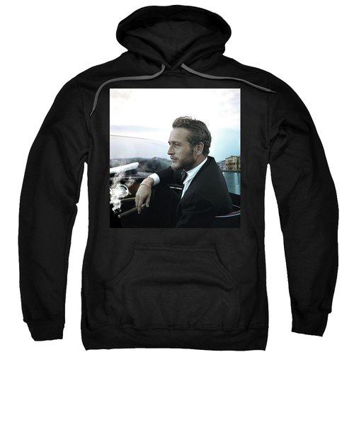 Life Is A Journey, Paul Newman, Movie Star, Cruising Venice, Enjoying A Cuban Cigar Sweatshirt