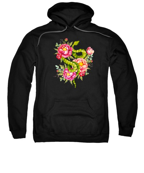Peony Blossoms Buds And A Green Garden Snake Sweatshirt