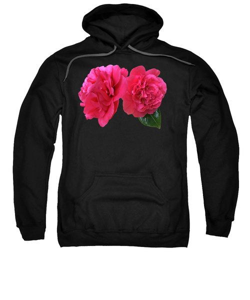 Pink Camellia On Black Sweatshirt