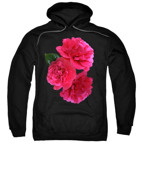 Pink Camellia On Black Vertical Sweatshirt