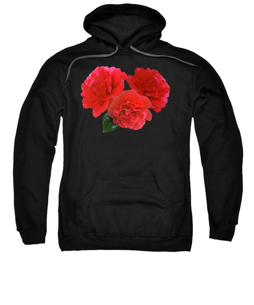 Red Camellias On Black Sweatshirt