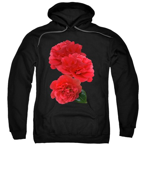 Red Camellias On Black Vertical Sweatshirt