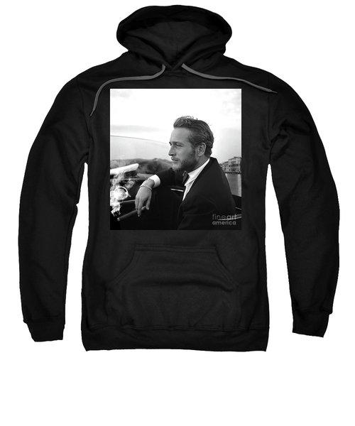 Reflecting, Paul Newman, Movie Star, Cruising Venice, Enjoying A Cuban Cigar, Black And White Sweatshirt