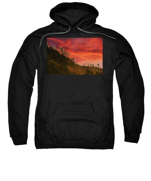 Silhouette Of Conifer Against  Seacoast  Sweatshirt