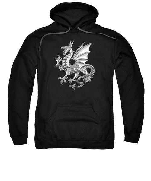 Silver Winged Norse Dragon - Icelandic Viking Landvaettir Over Black Velvet  Sweatshirt
