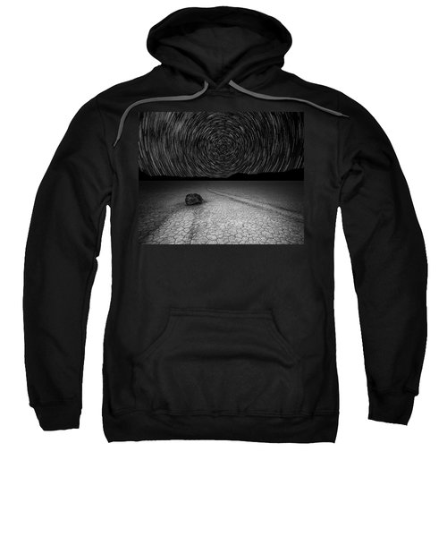 Star Trails Over Racetrack Playa Black And White Sweatshirt