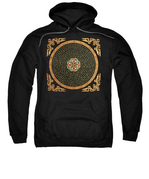 Tibetan Thangka - Buddhist Mandala With Double Vajra Over Black Leather  Sweatshirt