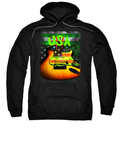 Usa Strat Guitar Music Green Theme Sweatshirt