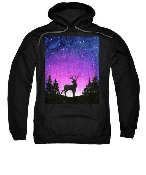 Winter Forest Galaxy Reindeer Sweatshirt