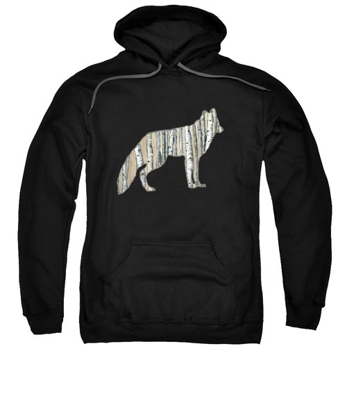 Woods Forest Lodge Wolf With Aspen Trees Sweatshirt
