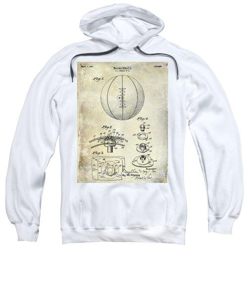 1927 Basketball Patent Drawing Sweatshirt by Jon Neidert