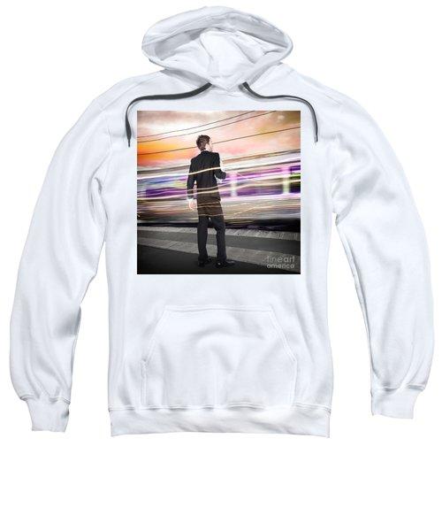 Business Man At Train Station Railway Platform Sweatshirt