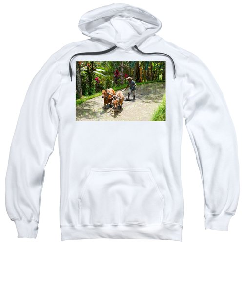 Farmer With Oxen Working In Paddy Sweatshirt
